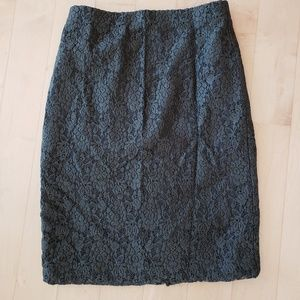 Ann Taylor Dark Grey Lace pencil Skirt in 0p